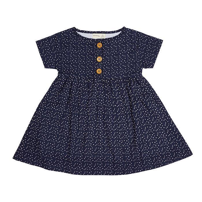 Navy White Spot S/S Dress - Miann and Co. - Hugs For Kids