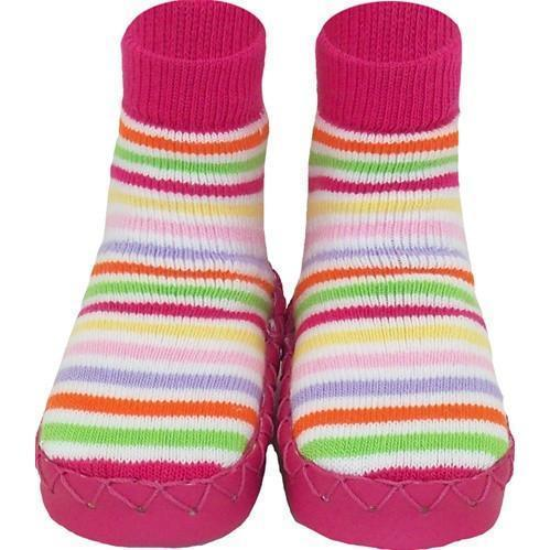 Swedish Moccasins - Pink Stripes - Nowali - Hugs For Kids