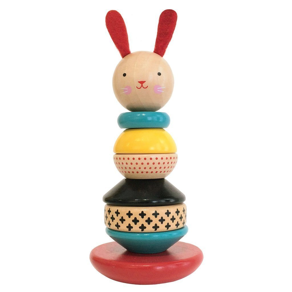 Rabbit Wood Stacking Toy - Petit Collage - Hugs For Kids