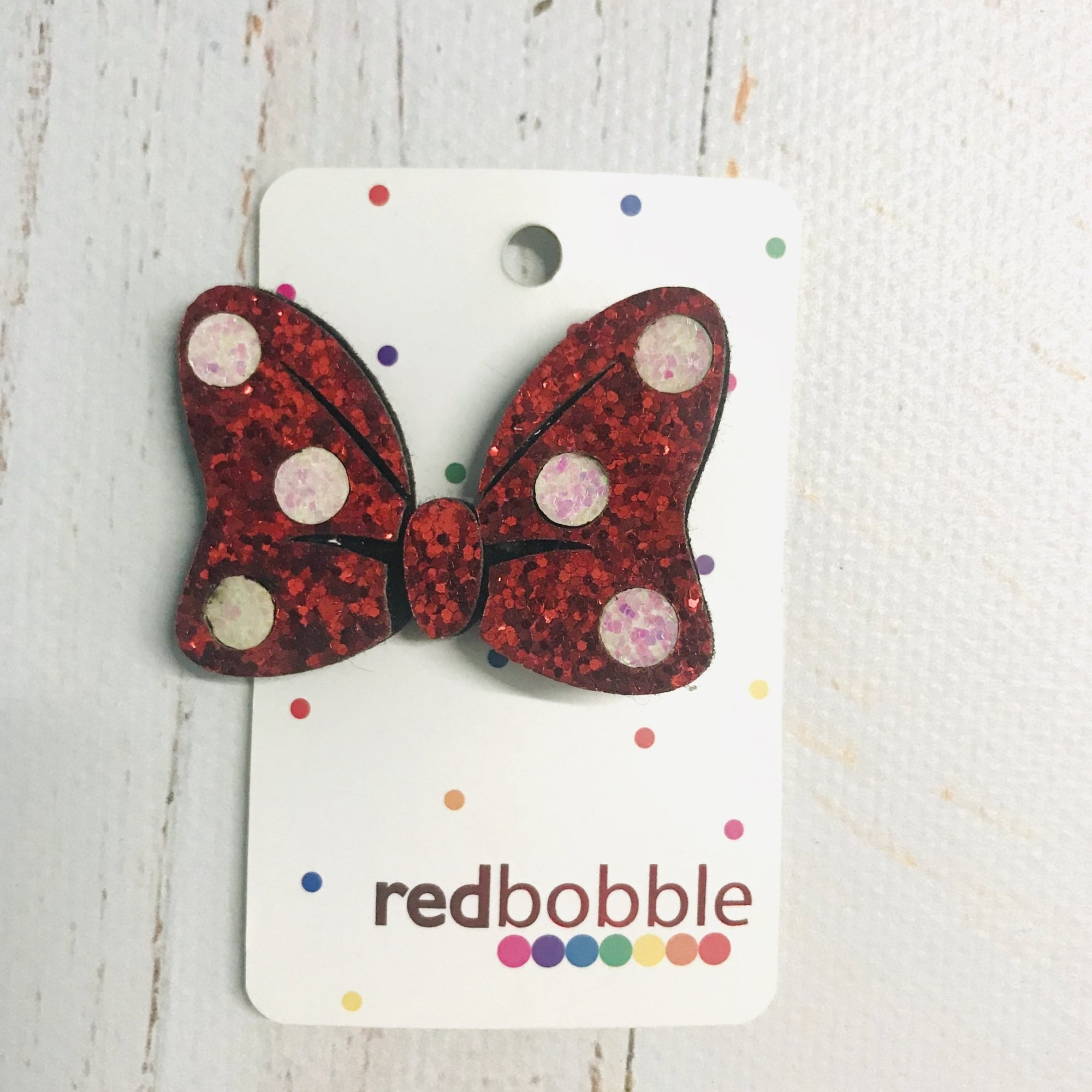 Red Spotty Bow - Red Bobble - Hugs For Kids