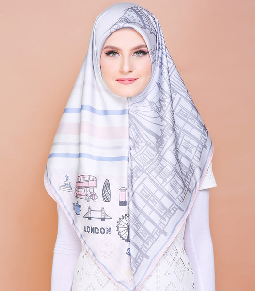 London Series (Square Scarf) - Sweet Grey