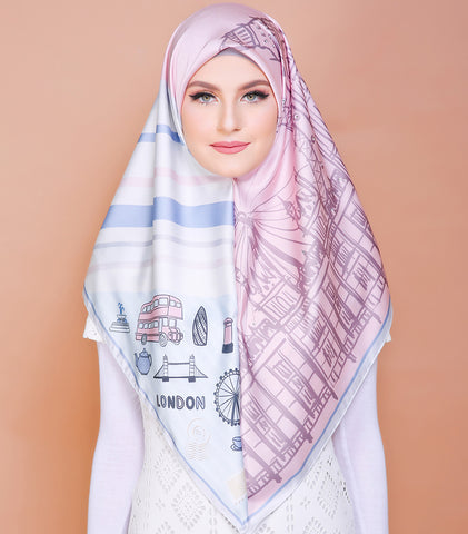 London Series (Square Scarf) Diamond Embrlishment - Candy Pink