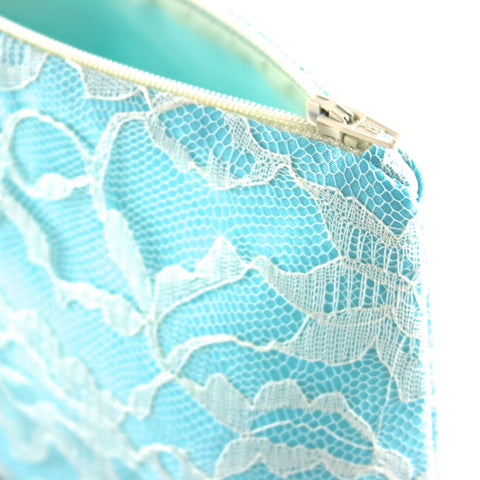 Bridal Cosmetic Bag in Aqua Satin & Ivory Lace