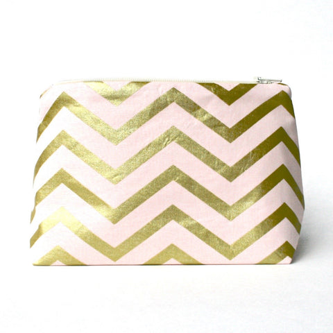 Blush Pink & Metallic Gold Chevron Cosmetic Bag