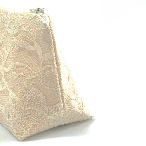 Champagne Satin & Ivory Lace Bridal Cosmetic Bag