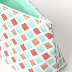 Coral, Mint, and Gold Lattice Print Cosmetic Bag