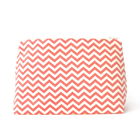 Coral Pink and Cream Chevron Cosmetic Bag