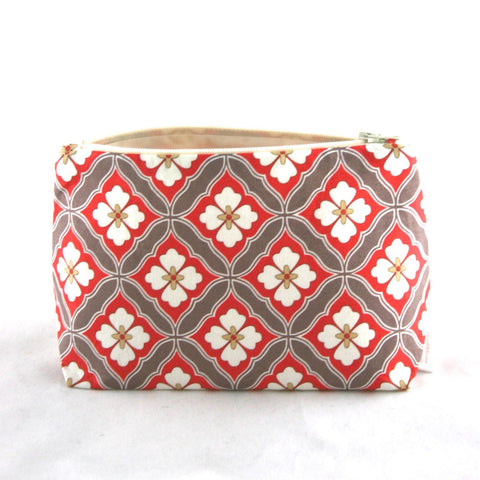 Coral and Taupe Vintage Tile Floral Cosmetic Bag