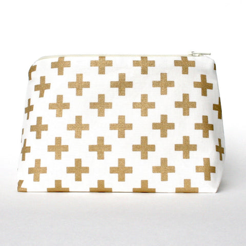 Metallic Gold Cross Pattern Makeup Bag