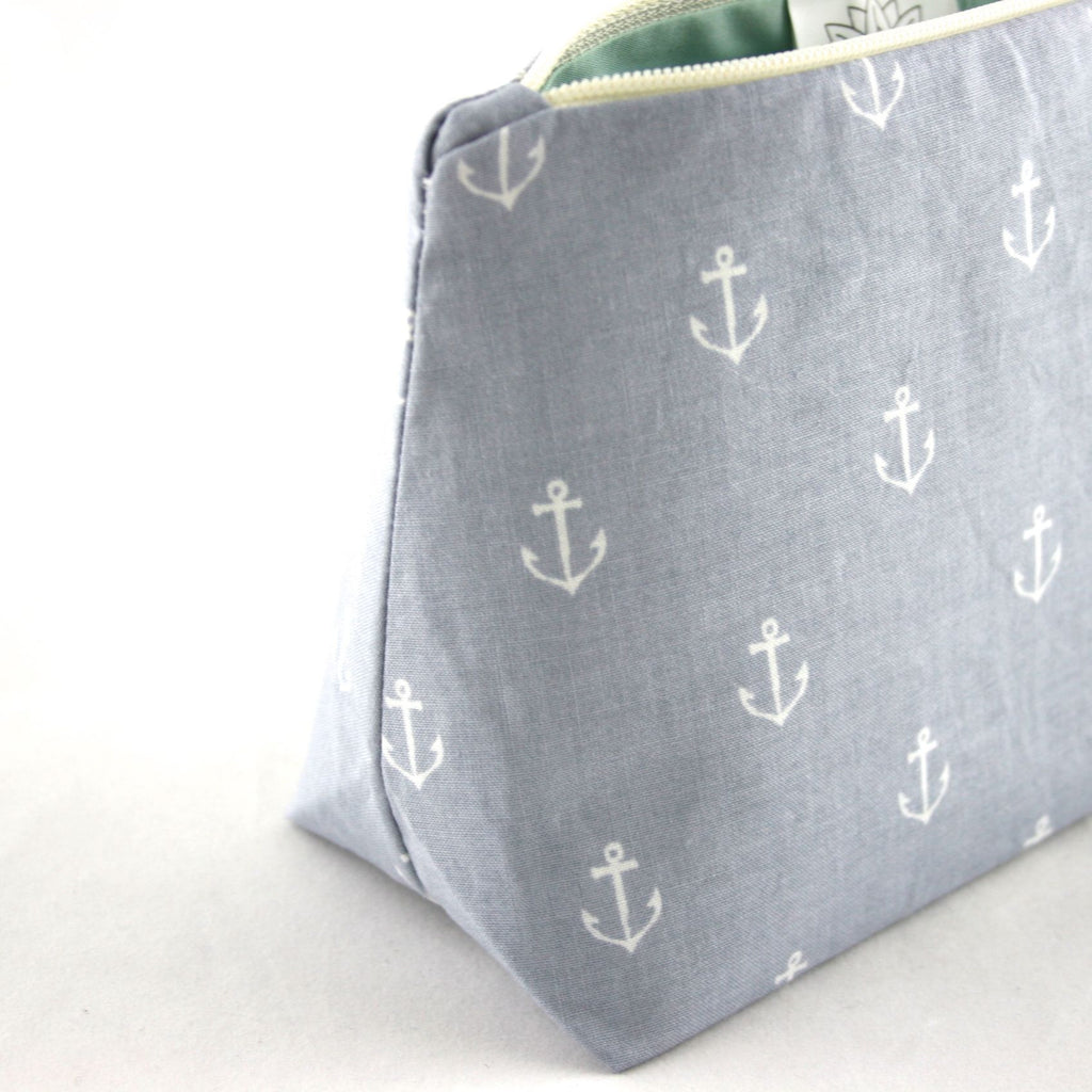 Light Gray Nautical Anchor Cosmetic Bag
