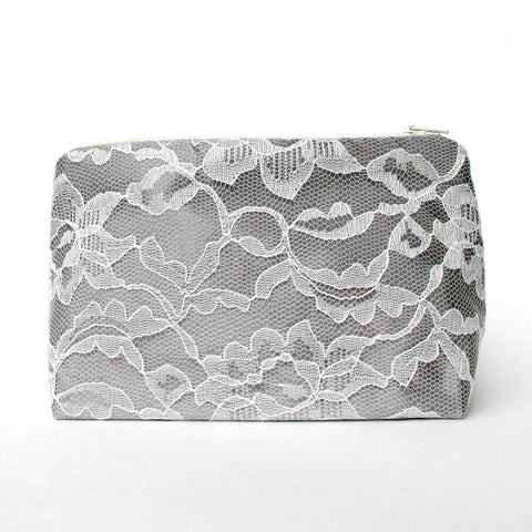 Gray Satin & Ivory Lace Bridal Cosmetic Bag