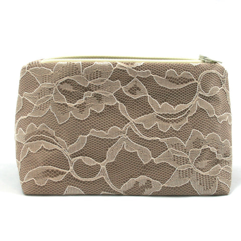 Latte Brown Satin & Vintage Cream Lace Bridal Cosmetic Bag