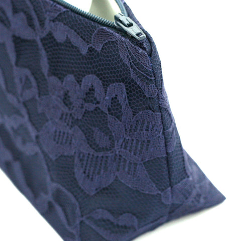 Navy Wedding Satin & Lace Cosmetic Bag