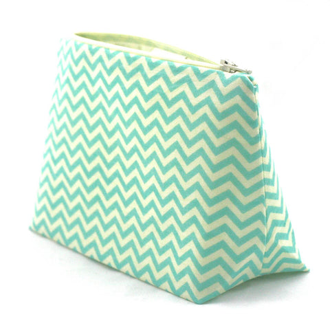 Aqua and Cream Chevron Cosmetic Bag