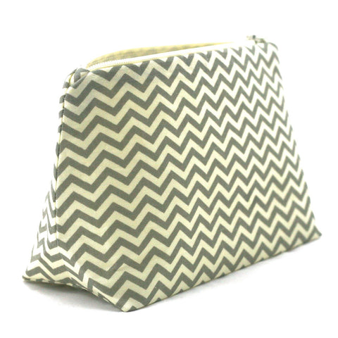 Gray and Cream Chevron Cosmetic Bag