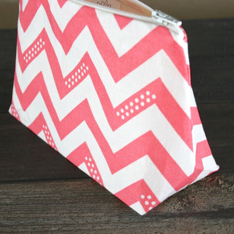 Graphic Large Coral Chevron Cosmetic Bag