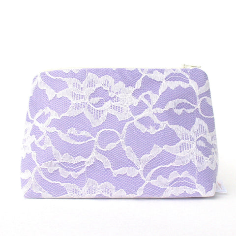 Lavender Satin & Ivory Lace Bridal Cosmetic Bag