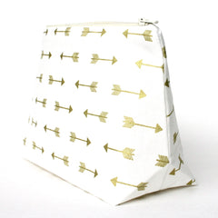 Gold Arrow Print Cosmetic Bag