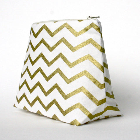 Metallic Gold Chevron and Ivory Cosmetic Bag