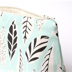 Mint Blue Leaves Cosmetic Bag