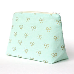 Mint and Gold Bow Cosmetic Bag