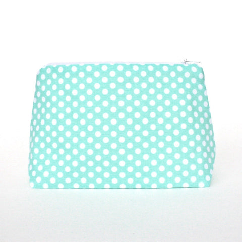 Mint Polka Dot Makeup Bag
