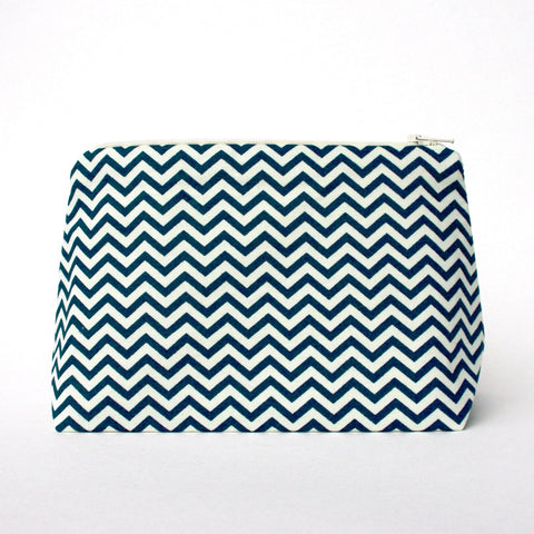 Navy and Cream Chevron Cosmetic Bag