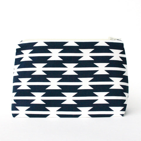 Navy & White Mojave Graphic Southwest Cosmetic Bag