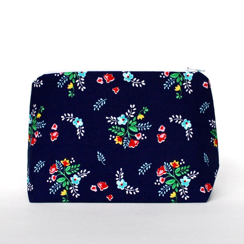 Navy Vintage Bouquet Floral Cosmetic Bag