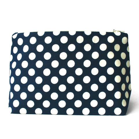 Navy and Cream Polka Dot Cosmetic Bag