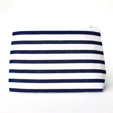 Navy and White Nautical Stripe Makeup Bag