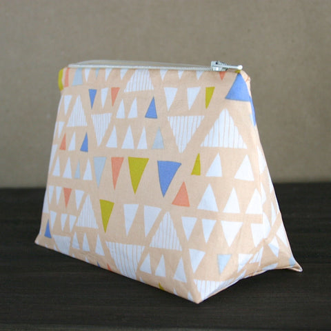 Peach Abstract Triangle Makeup Bag