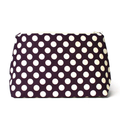 Plum Purple Polka Dot Cosmetic Bag