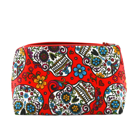 Day of the Dead Sugar Skull Makeup Bag in Red