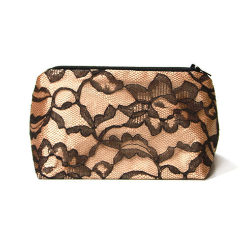 Gold & Black Lace Great Gatsby Wedding Cosmetic Bag