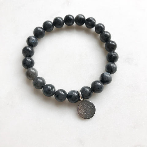 Black Moonstone Bracelet with Tree of Life Charm
