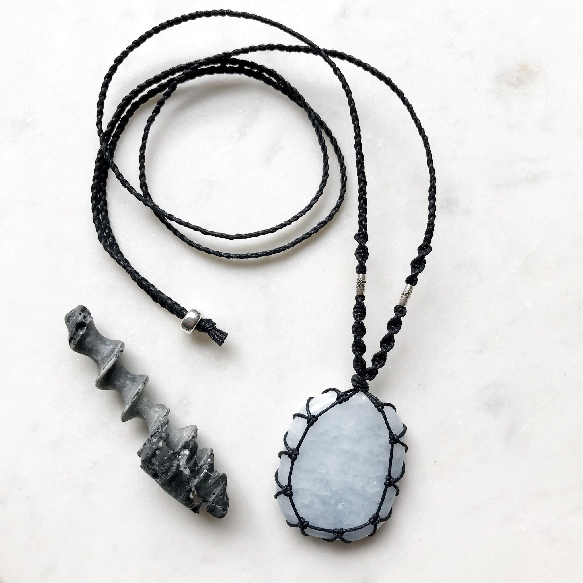 Blue Calcite Macramè Necklace