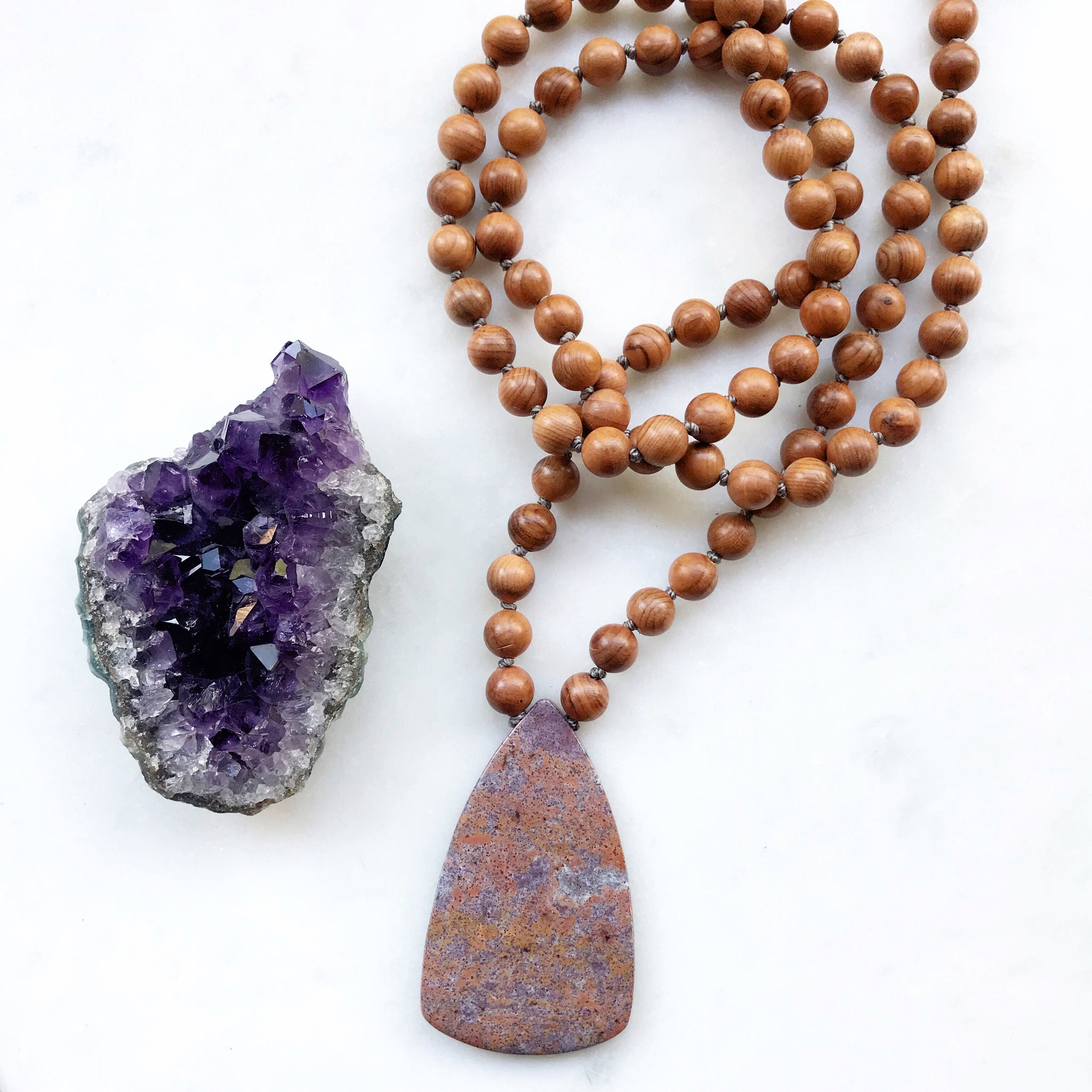 Wave Jasper & Rosewood 108 Mala Necklace