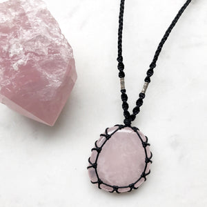 Rose Quartz Macrame Necklace