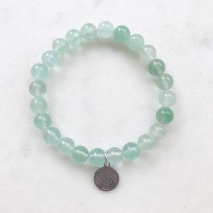 Green Fluorite Bracelet with OM or Tree of Life Charm