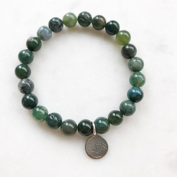 Moss Agate Bracelet with OM or Tree of Life Charm