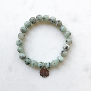Kiwi Jasper Bracelet with Tree of Life Charm