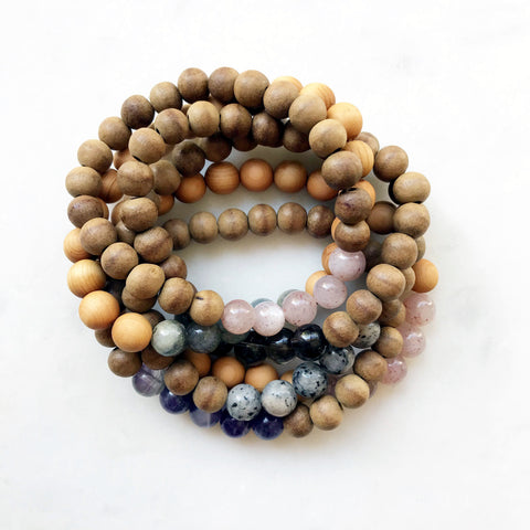 Aromatic Agarwood & Gemstone Bracelets
