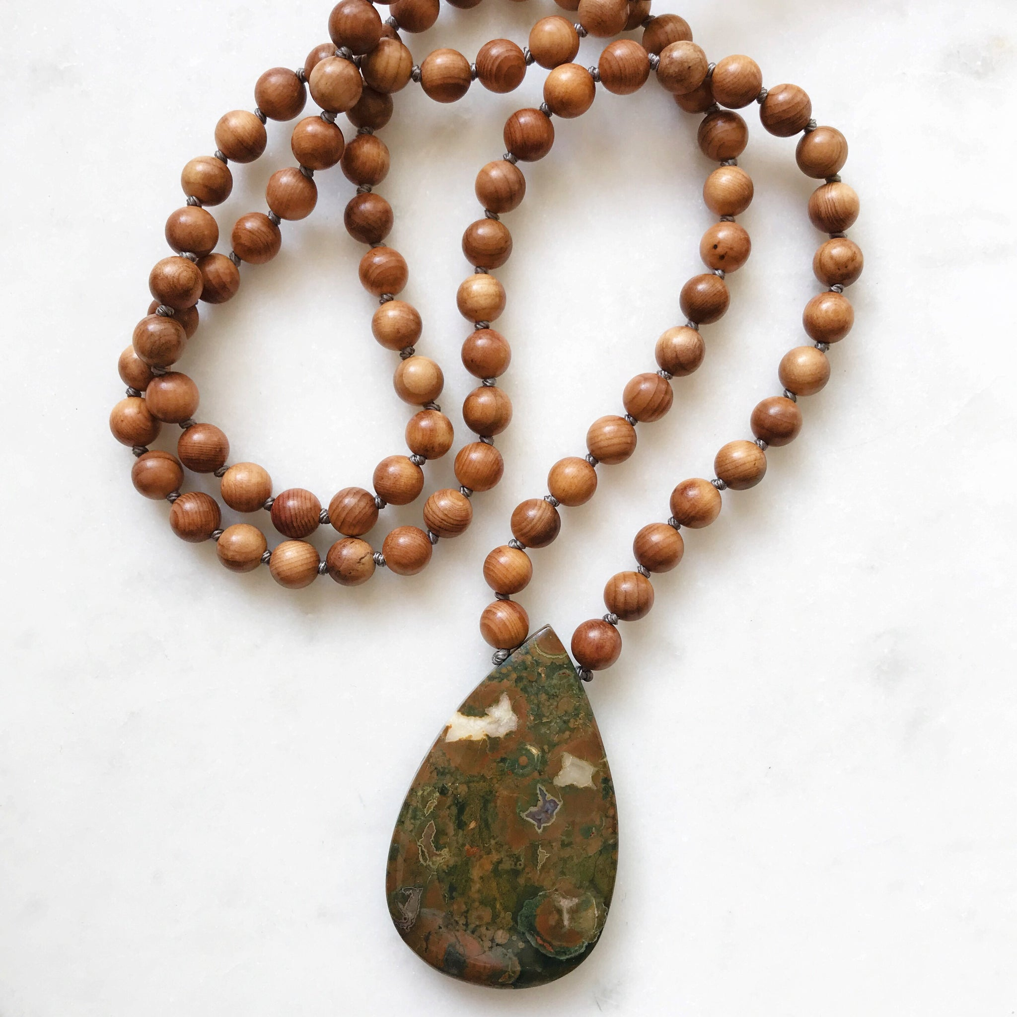 Rainforest Jasper & Rosewood 108 Mala