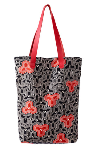 Akemi.  Geometric Japanese print 100% Silk Tote Bag