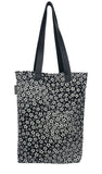 Momoka  white flower print silk tote bag