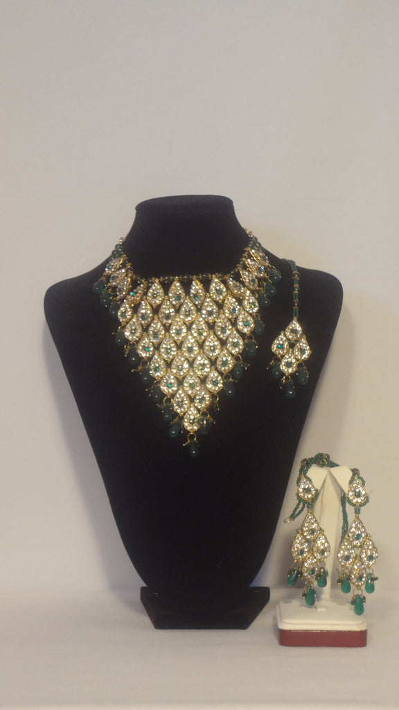 Faux Gold Jewelry Set with Clear Green Rhinestones Desi Diva Couture