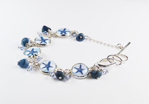 Blue Starfish Beach Bracelet with Blue Agate and Crystals