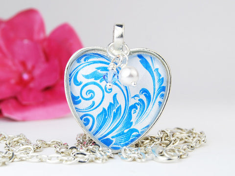 Blue Flourish Heart Necklace