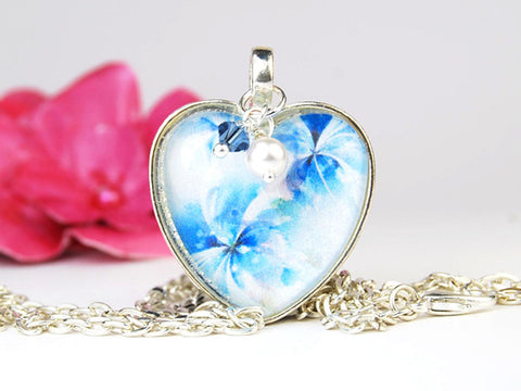 Blue Flowers Heart Necklace